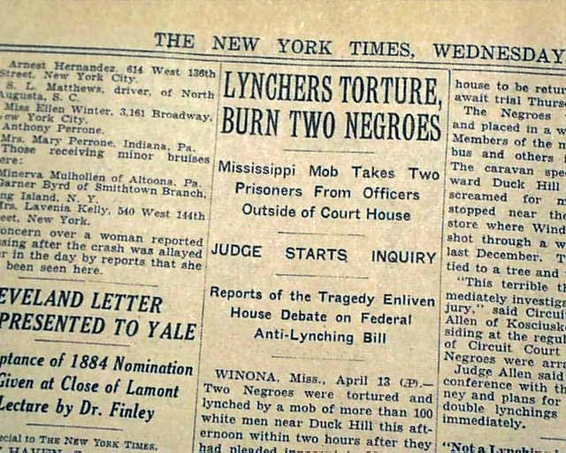 Newspaper Article about the Duck Hill Lynching