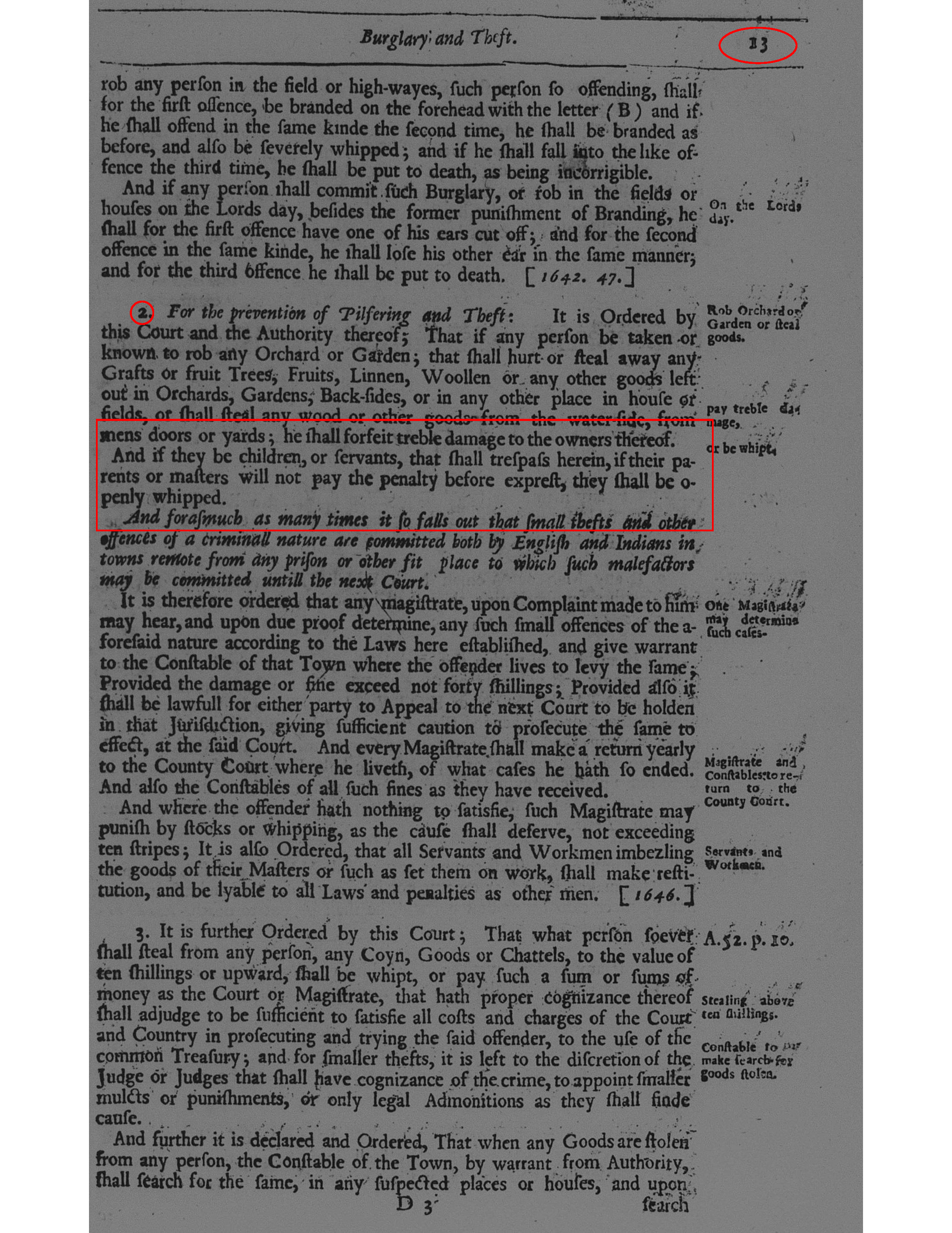 Page of the 1672 General Lawes and Libertyes referenced by Hannah (with specific parts highlighted).