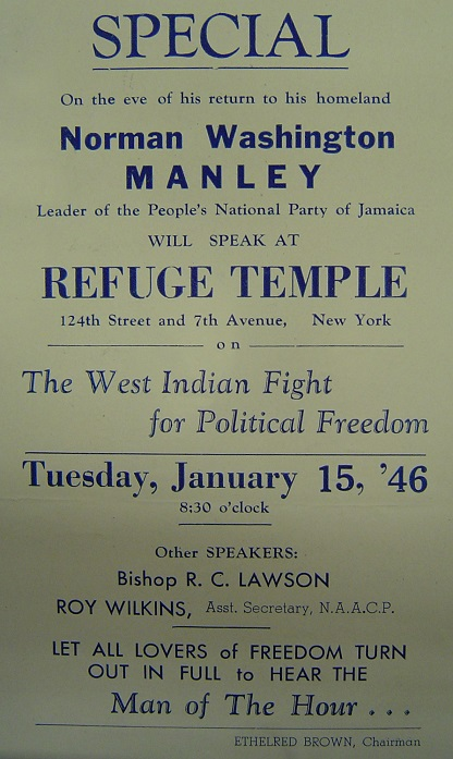Flyer advertising a speech by Norman Manley in Harlem (1946)