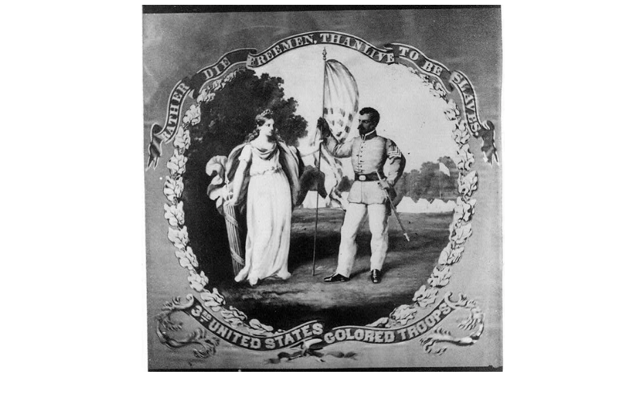 "USCT Regimental flag held at the Library of Congress declares: ""Rather Die Freemen, Than Live To Be Slaves."""