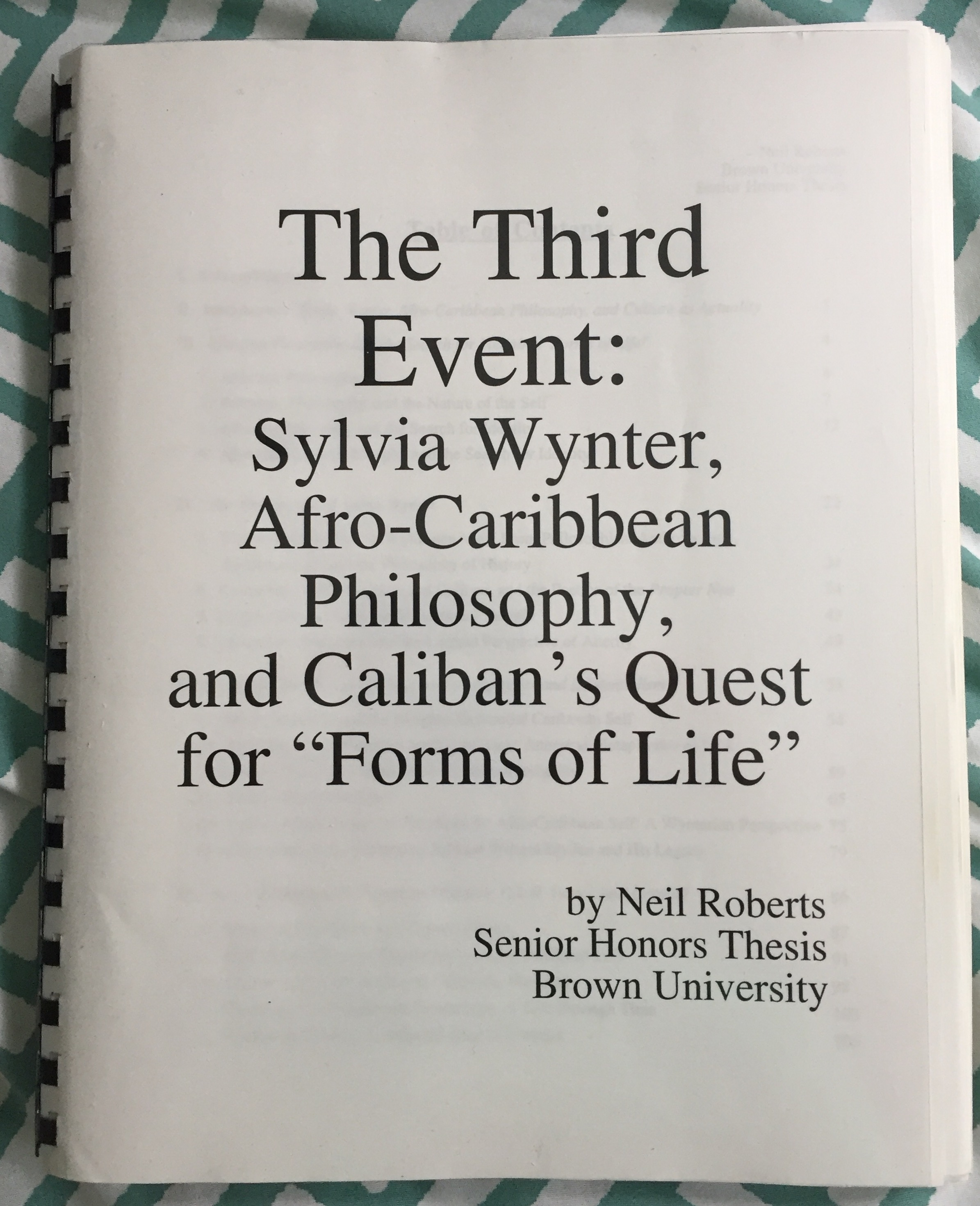 Cover page of Roberts's senior thesis.