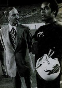 Simpson with Bills owner Ralph Wilson (Ebony, 1976)