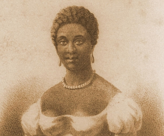 Nineteenth century portrait of Phillis Wheatley featured in the Parisian journal, Revue des Colonies. The Société d'hommes de Couleur published the journal from 1834 to 1842, and the journal was one of the first European journals published by people of African descent.