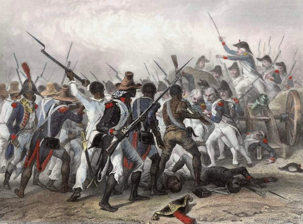 Anonymous engraving of the Battle of Vertières that ended the Haitian War of Independence