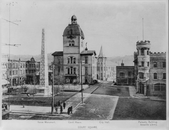 Court Square - Vance Monument, courthouse, City Hall, Palmetto Building and Asheville Library, Asheville, around 1899. (Library of Congress)