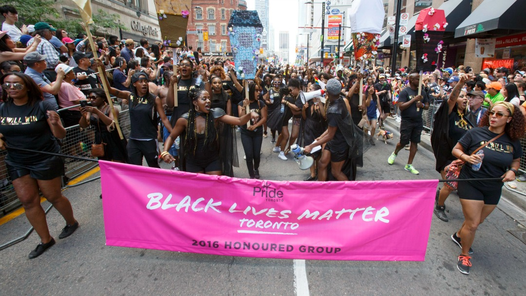 Black Lives Matter at Toronto Pride 2016 (Credit: Michael Hudson/CP)