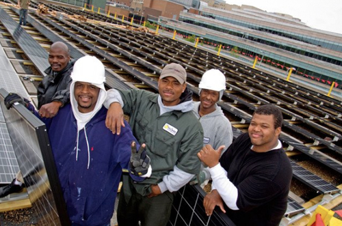 Worker-owners at Evergreen Energy Solutions, a worker-owned cooperative in Cleveland, Ohio