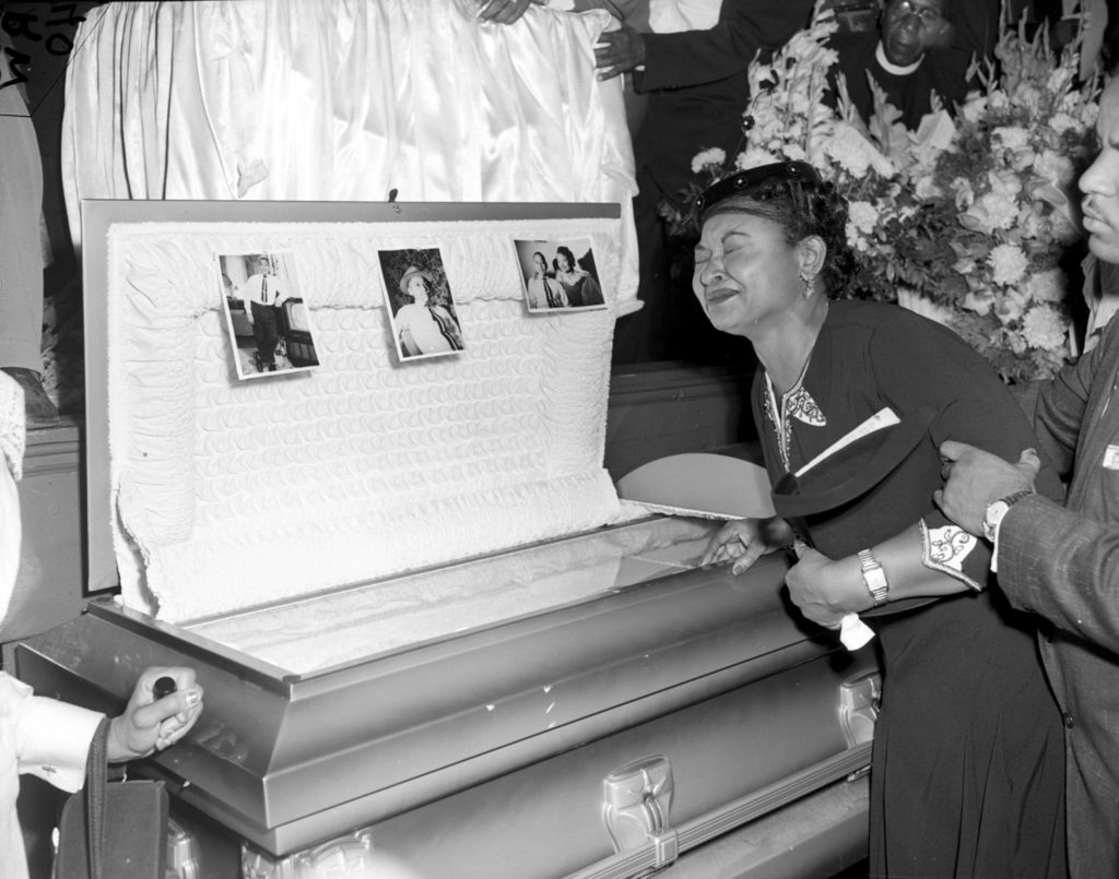 ** ADVANCE FOR SUNDAY, MARCH 11 **FILE**Mamie Till Mobley weeps at her son's funeral on Sept. 6, 1955, in Chicago (AP Photo/Chicago Sun-Times)