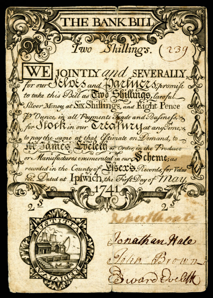 Paper currency similar to the bill found by the enslaved man and reported to Hill.