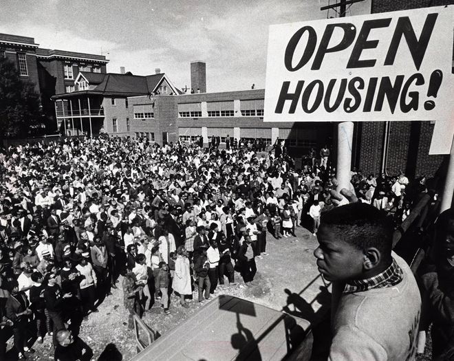 The largest group of civil rights demonstrators this summer gathered at st Boniface Catholic church, 2609 n 11th Street, for a brIef rally before setting off on their march fo opening housing to the south side and West Milwaukee Sunday, September 10, 1967. JOURNAL SENTINEL FILE PHOTO PUBLISHED: 9/11/1967 MILWAUKEE JOURNAL
