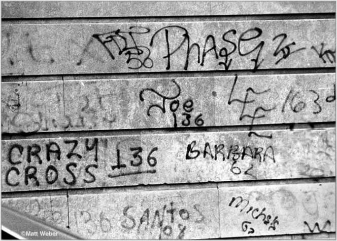 Tags of Barbara 62, Lee 163, and others in Harlem, 1985.