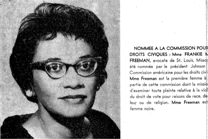 Coverage of Frankie Muse Freeman's appointment to the United States Commission on Civil Rights in Awa: La Revue de la femme noire no. 7 (September 1964).