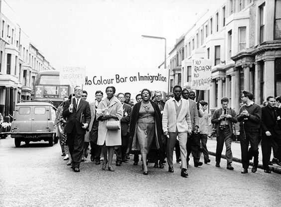 Claudia Jones leading a demonstration in London against the 1962 Immigration Act.