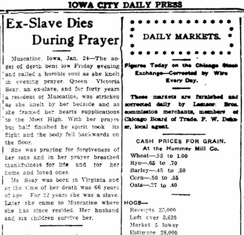 """Ex-Slave Dies During Prayer."" The Iowa City Press-Citizen, January 24, 1910."