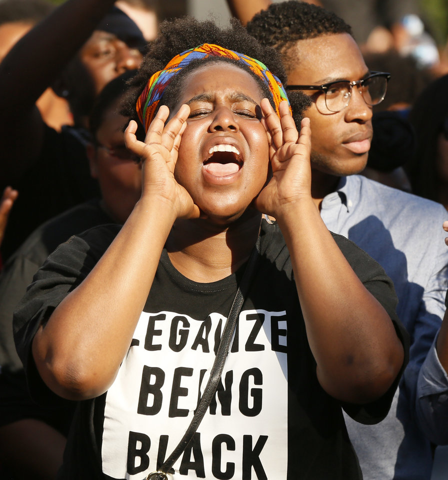 Auziah Antwine cheers during a rally led by Black Lives Matter Oklahoma in Bricktown in Oklahoma City, Sunday, July 10, 2016. Antwine was one of the organizers of the event. Photo by Nate Billings, The Oklahoman