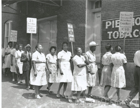 Protest at Piedmont Leaf Tobacco Company, 1946. Strikers from United Tobacco Workers Local 22 union on the picket line.