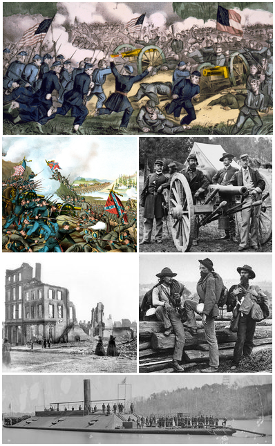 Clockwise from top: Battle of Gettysburg, Union Captain John Tidball's artillery, Confederate prisoners, ironclad USS Atlanta, ruins of Richmond, Virginia, Battle of Franklin. Source: Wikipedia.