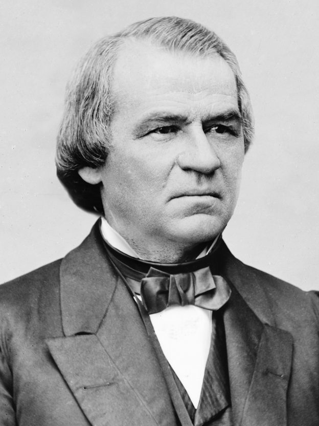 US President Andrew Johnson vetoed the Civil Rights Act of 1866 upon entering office. His veto was overridden by Congress. Credit: Wikimedia Commons