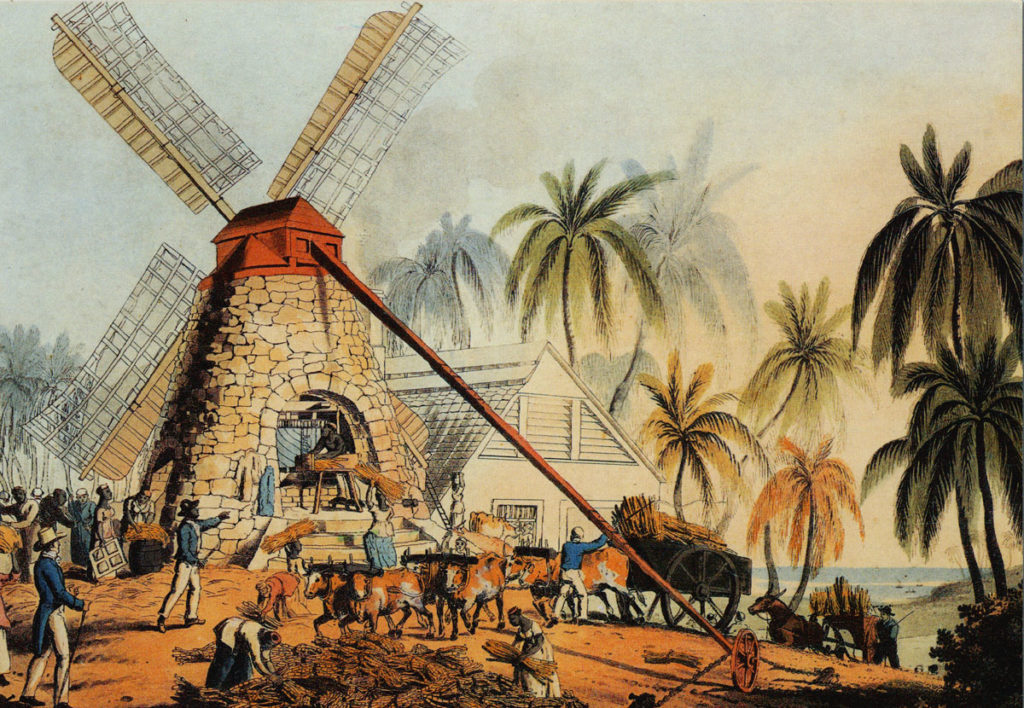 An Antigua sugar plantation. Source: John Carter Brown Library at Brown University.