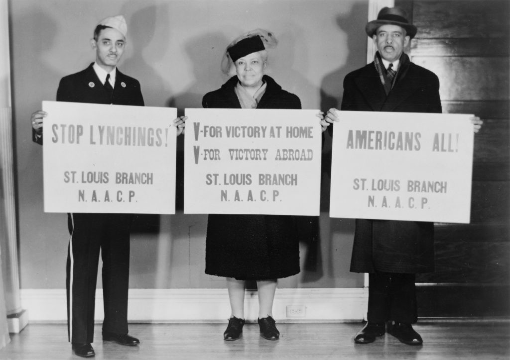 Plate_03 UNKNOWN PHOTOGRAPHER, ST. LOUIS, MO, EARLY 1940s. Washington, DC, Library of Congress, Prints and Photographs Division, Visual Materials from the NAACP Records. Members of the St. Louis Branch of the NAACP calling for victory at home and abroad and an end to racial violence.