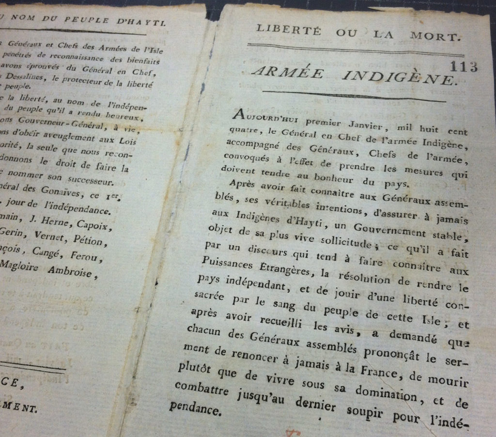 Haitian Declaration of Independence, 1804.