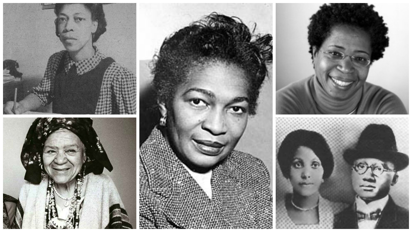 Left column: Una Marson (top) and Audley Moore, Claudia Jones (center), Dionne Brand (top right), Louise Little and spouse