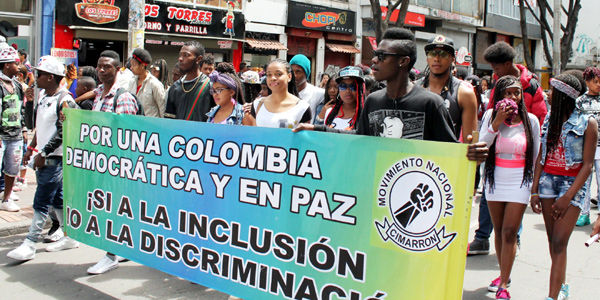 Afro-Colombian youth from Movimiento Cimarrón marching in a peace march in 2016. Photo courtesy of El Tiempo.