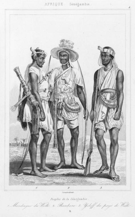 1847 French Representation of three African ethnic identities: Mandinka, Bambara, and Wolof (From Left to Right) (Credit: Schomburg Center Rare Books, Manuscripts, and Archives, Sénégambie et Guinée Collection)