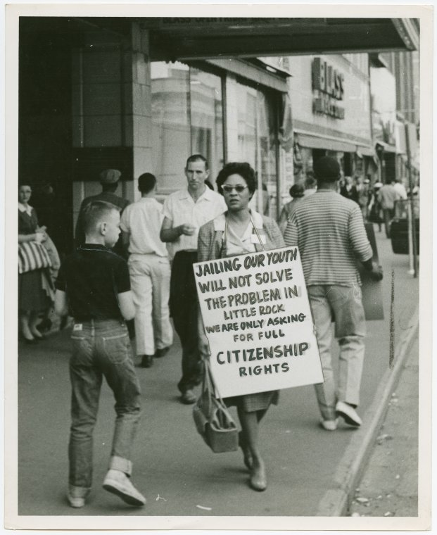 Activist Daisy Bates Takes a Walk, 1957 (Credit: Schomburg Center Prints and Photographs Division, Demonstrations Collection)