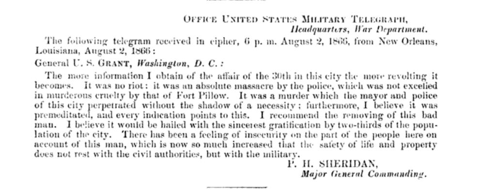 Telegram from General Sheridan to General Grant, August 2, 1866. Source: U.S. House of Representatives.
