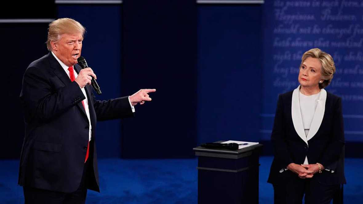 Donald Trump and Hillary Clinton face off during the second presidential debate.