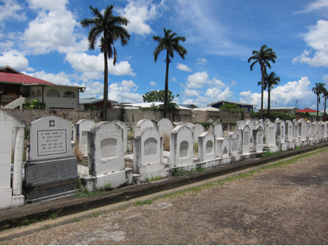 Gravestones of the Calypso Jews in the Bet Olam section of the Mucurapo Cemetery, Port of Spain, Trinidad. Photo: Sarah Phillips Casteel.