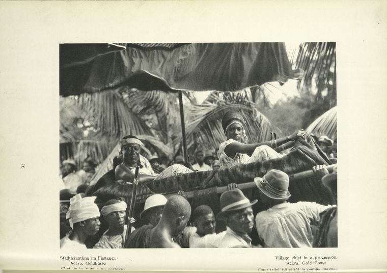 Village chief in a procession in 1931, Accra, Gold Coast, Dark Continent: Africa, the Landscape, and the People Collection (Schomburg Center General Research Division)
