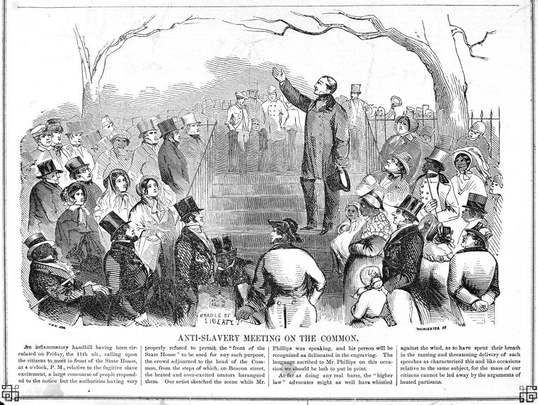 """Schomburg Center for Research in Black Culture, Photographs and Prints Division, The New York Public Library. """"Anti-Slavery Meeting on the [Boston] Common."""" The New York Public Library Digital Collections. http://digitalcollections.nypl.org/items/510d47df-7965-a3d9-e040-e00a18064a99"""