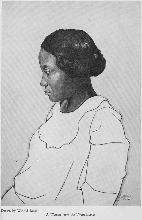 """Four portraits of Negro women : A woman from the Virgin Islands"" ((Schomburg Center for Research in Black Culture, Manuscripts, Archives and Rare Books Division, The New York Public Library)."