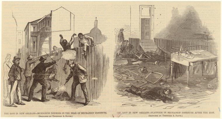 """The riot in New Orleans--murdering negroes in the rear of Mechanics' Institute ; Platform in Mechanics' Institute after the riot."" 1866. The New York Public Library Digital Collections."