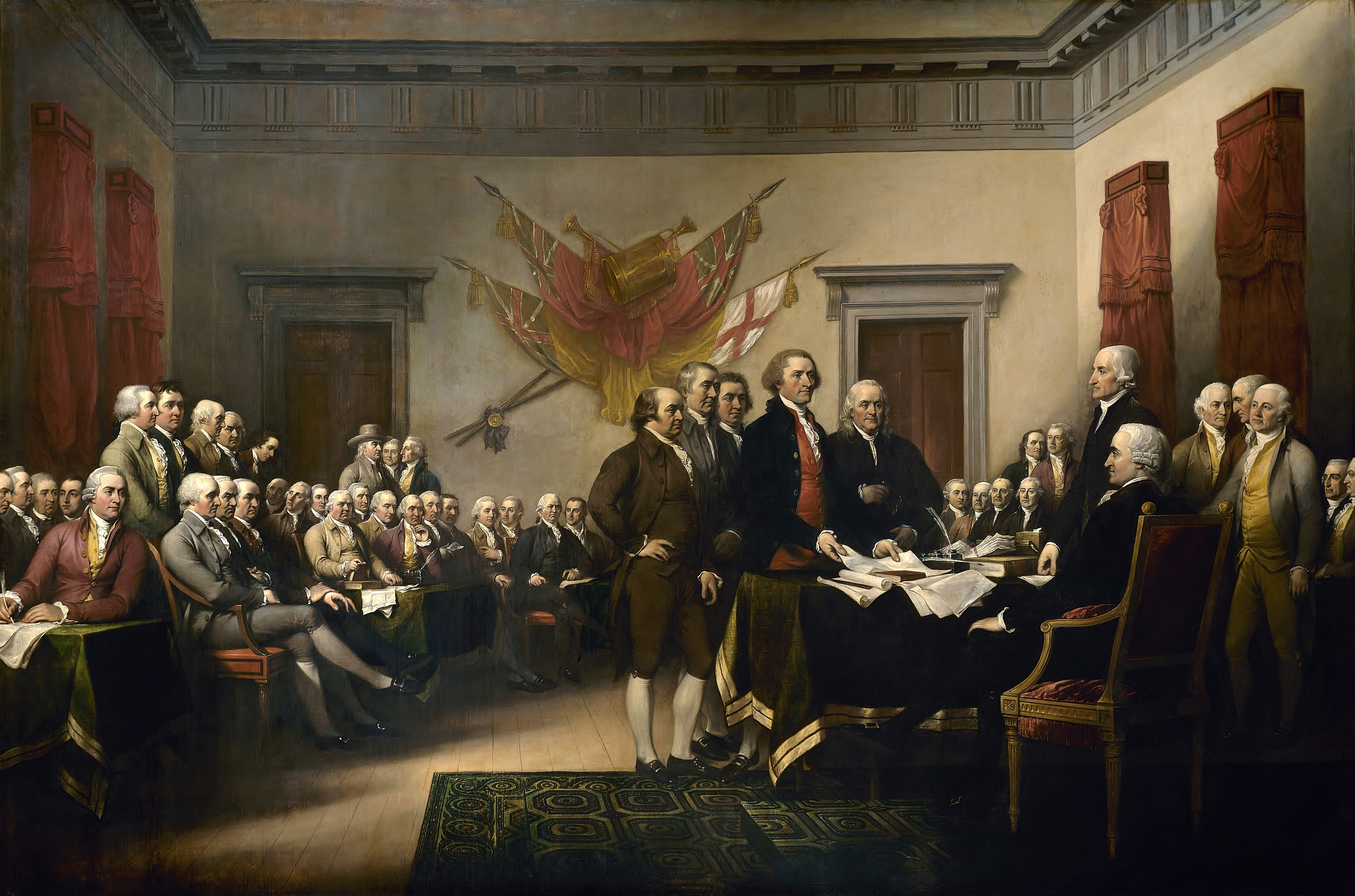 "John Trumbull's Declaration of Independence (1819), showing Benjamin Franklin, Thomas Jefferson, Robert Livingston, Roger Sherman and John Adams, presenting a draft of the Declaration of the Independence, ""A Declaration by the Representatives of the United States of America, in General Congress assembled,"" to the Second Continental Congress."