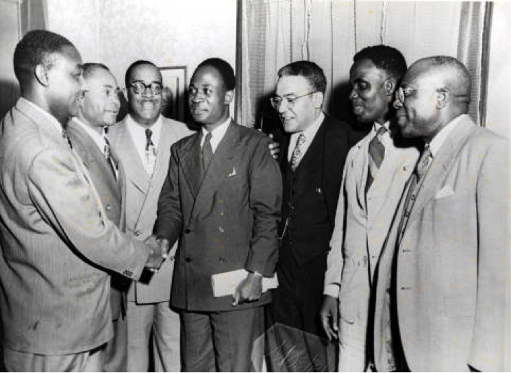 Kwame Nkrumah (center) and Horace Mann Bond. Photo Source: Temple University Libraries, the Charles L. Blockson Afro-American Collection via Digital Public Library of America.