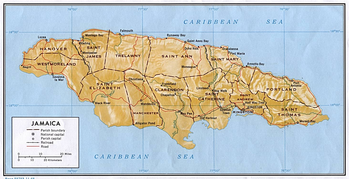 Current map of Jamaica, featuring Trelawny Town lying in the modern parish of Trelawny, with Charles Town located in Portland parish near Port Antonio.