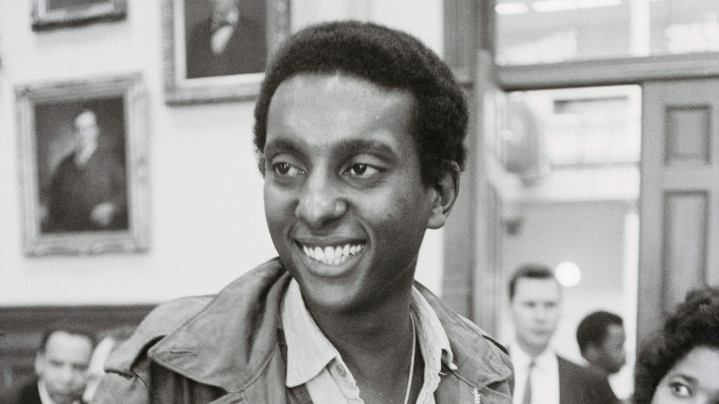 Stokely Carmichael, chairman of the Student Nonviolent Coordinating Committee, speaks to reporters in Atlanta in May 1966 (Photo by Bettmann/Corbis)