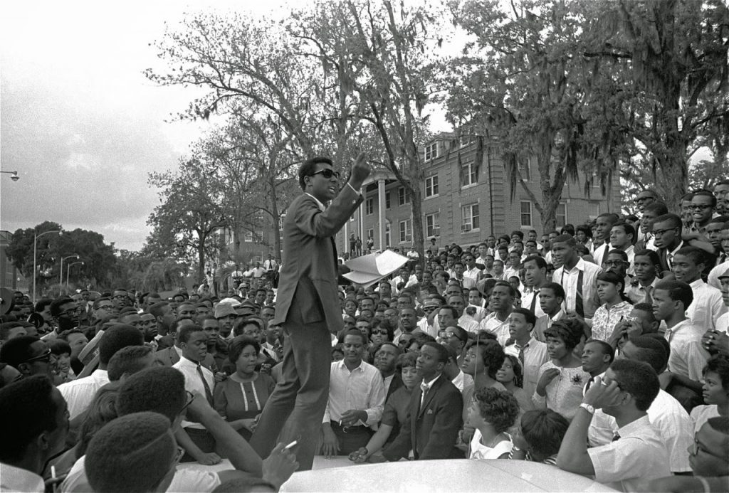 Stokely Carmichael of the Student Nonviolent Coordinating Committee speaks at Florida A&M University, 1967. Source: Black on Campus.