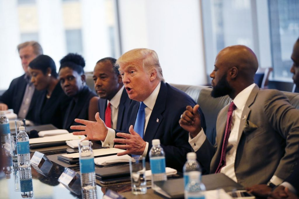 Donald Trump holds a roundtable meeting with the Republican Leadership Initiative in New York, Aug. 25, 2016. Dr. Ben Carson is seated next to Trump at center. Source: Grandmother Africa.