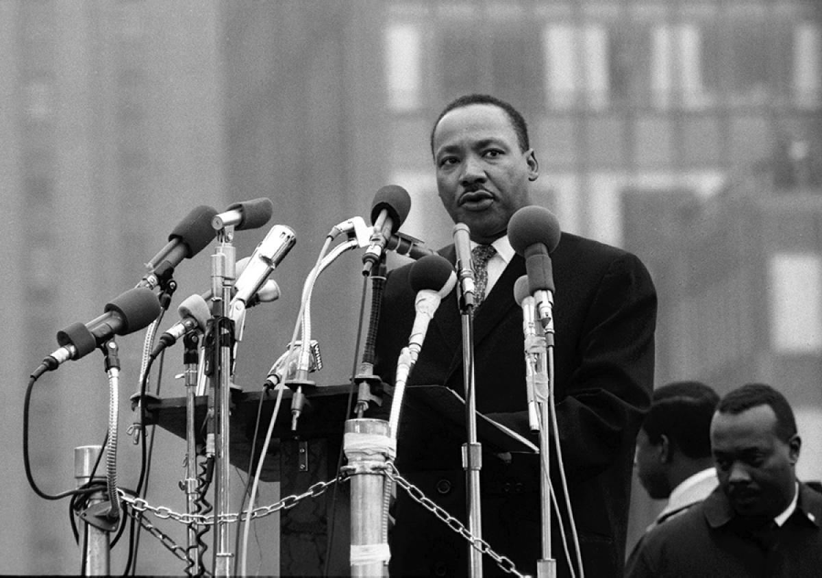 Dr. Martin Luther King, Jr. speaking near the UN in 1967. Source: NY Daily News.
