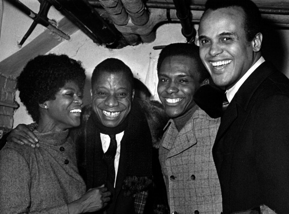 (L-R) Cicely Tyson, James Baldwin, Harry Belafonte, 1969, New York City. (Photo by Ron Galella, Ltd./WireImage)