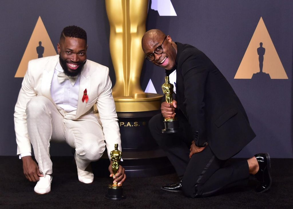 Moonlight director Barry Jenkins and author Tarell Alvin McCranley at the Academy Awards.