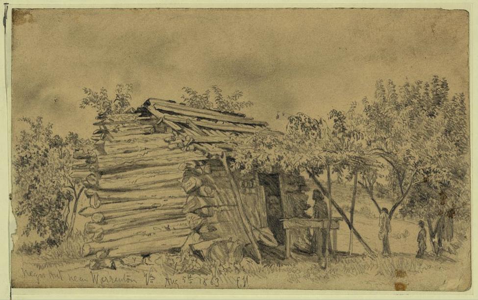 Edwin Forbes, Slave cabin near Warrenton, Va. 1863. Image: Library of Congress.
