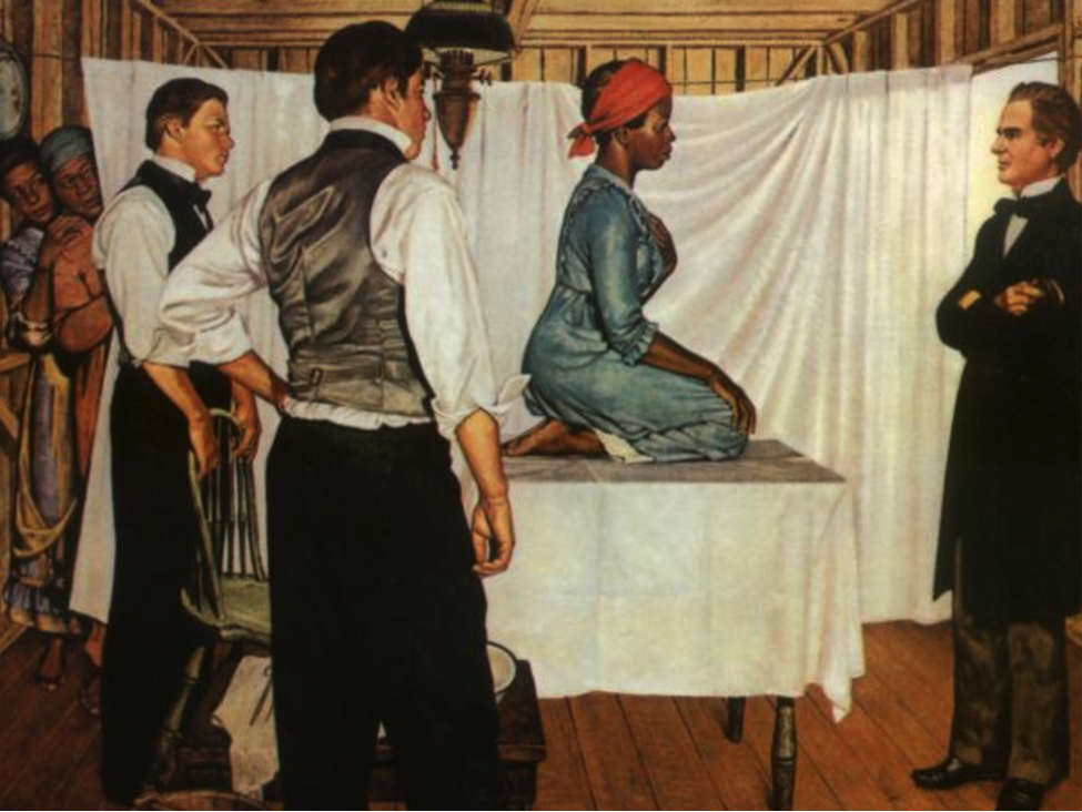 Illustration of Dr. J. Marion Sims with Anarcha by Robert Thom. Photo: Southern Illinois University School of Medicine, Pearson Museum.