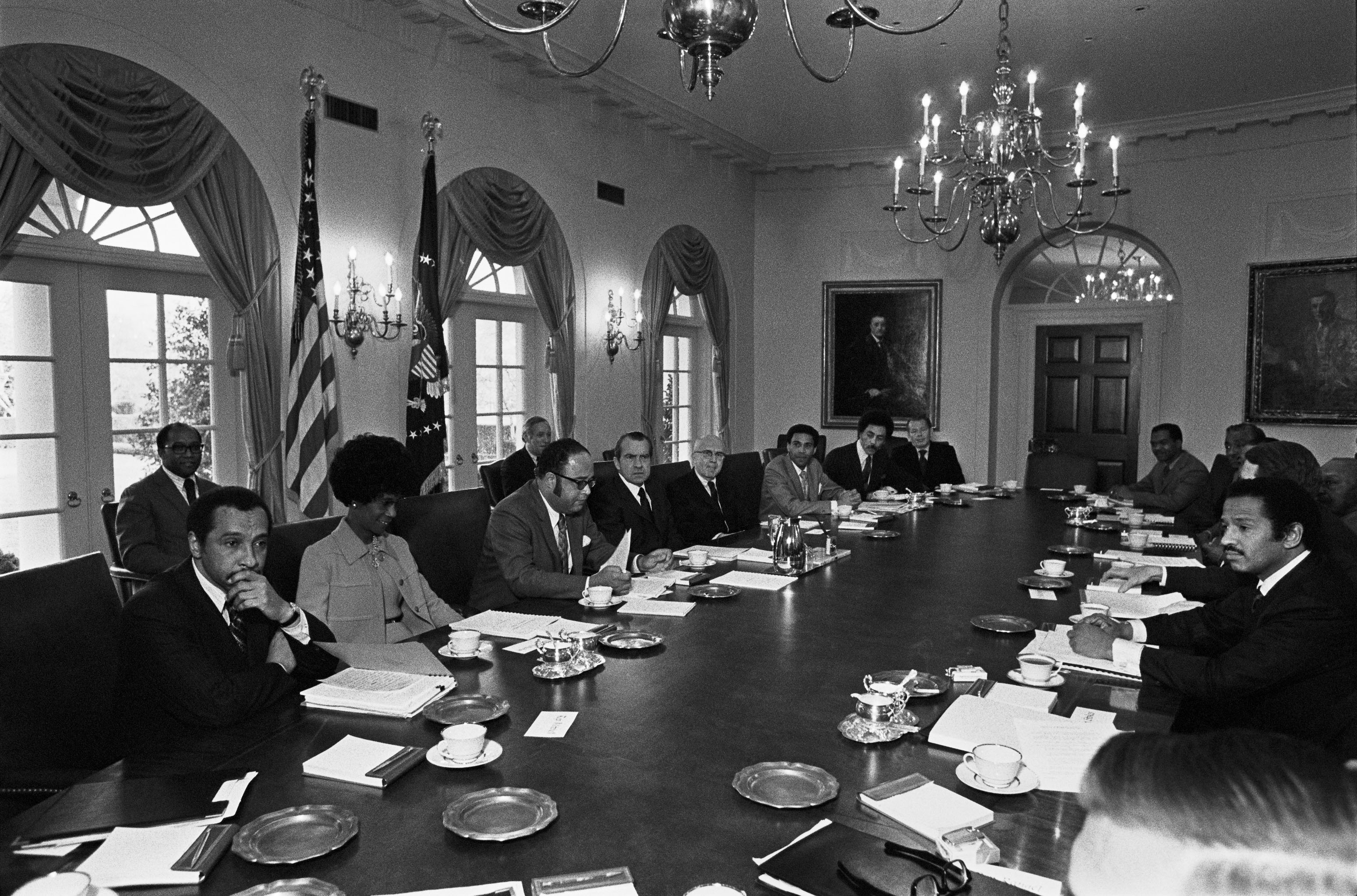 President Nixon meeting members of the Congressional Black Caucus, March 25, 1971. Photo: National Archives.