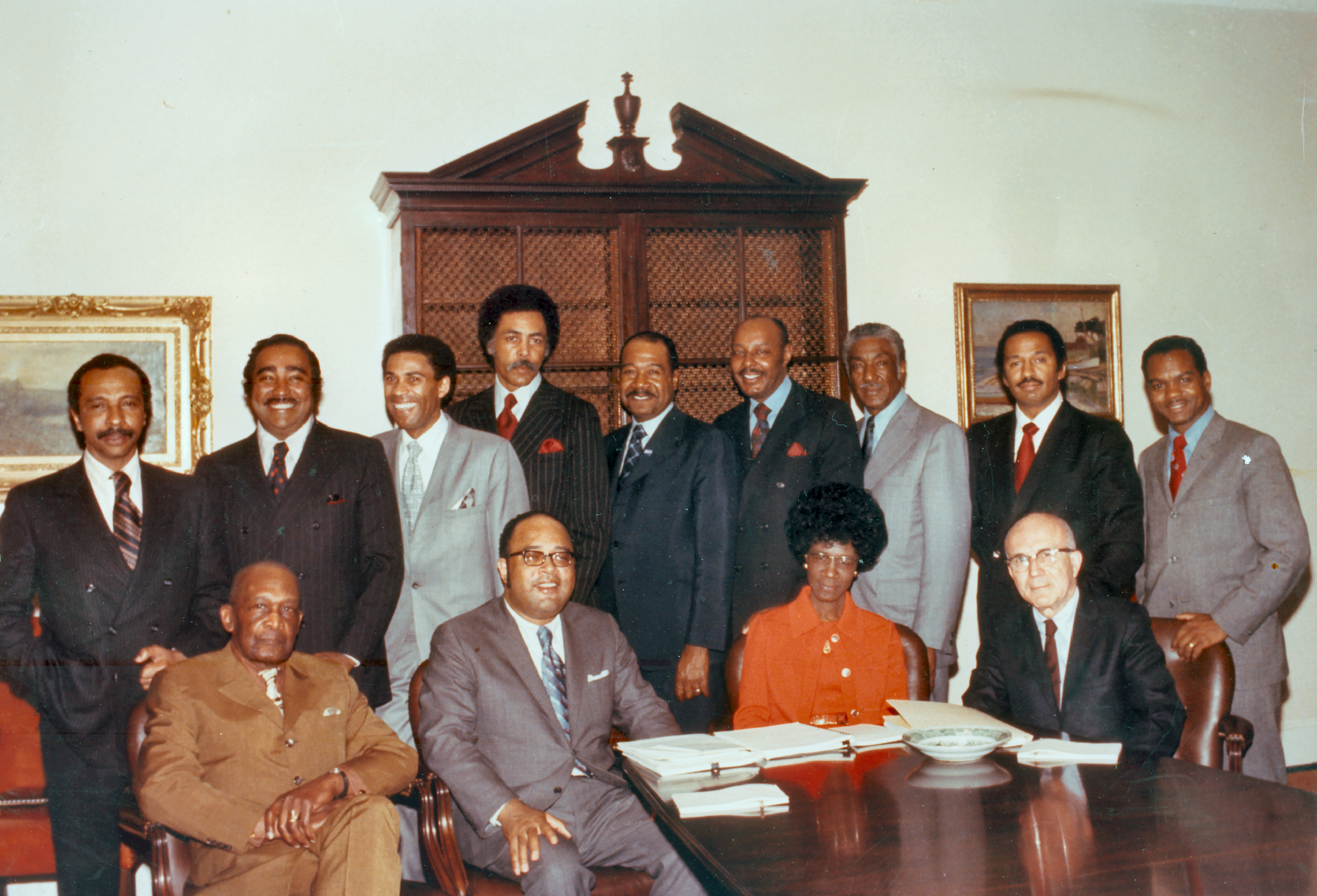 Founding members of the Congressional Black Caucus. L-R: Parren Mitchell, Charles Rangel, Bill Clay, Ron Dellums, George W. Collins, Louis Stokes, Ralph Metcalfe, John Conyers, and Walter Fauntroy. Seated L-R: Robert N.C. Nix, Sr., Charles Diggs, Shirley Chisholm, and Augustus F. Hawkins. Photo: US Congress.