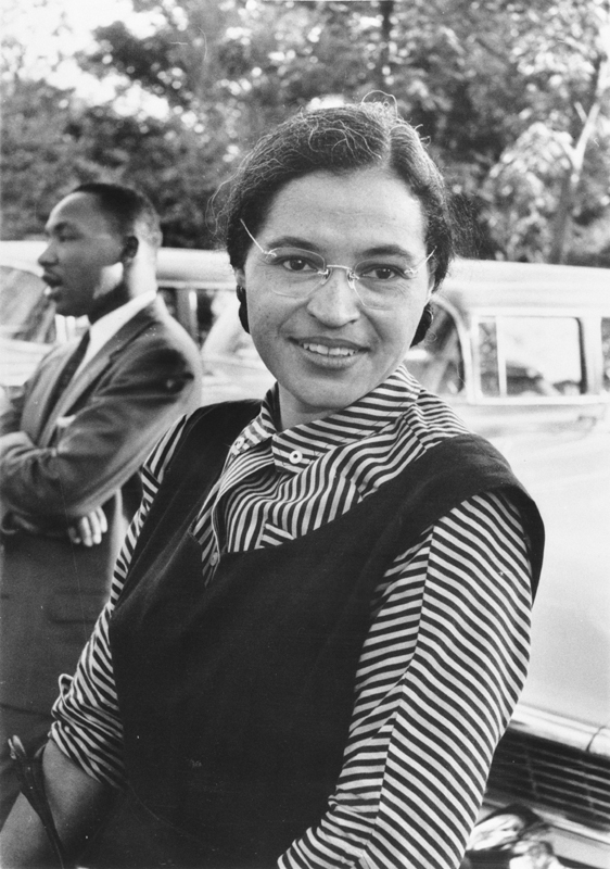 Rosa Parks with Dr. Martin Luther King, Jr. (ca. 1955). Photo: USIA / National Archives and Records Administration Records of the U.S. Information Agency.